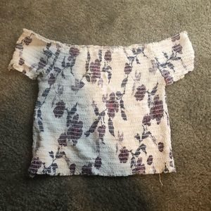 flowery cropped off the shoulder top
